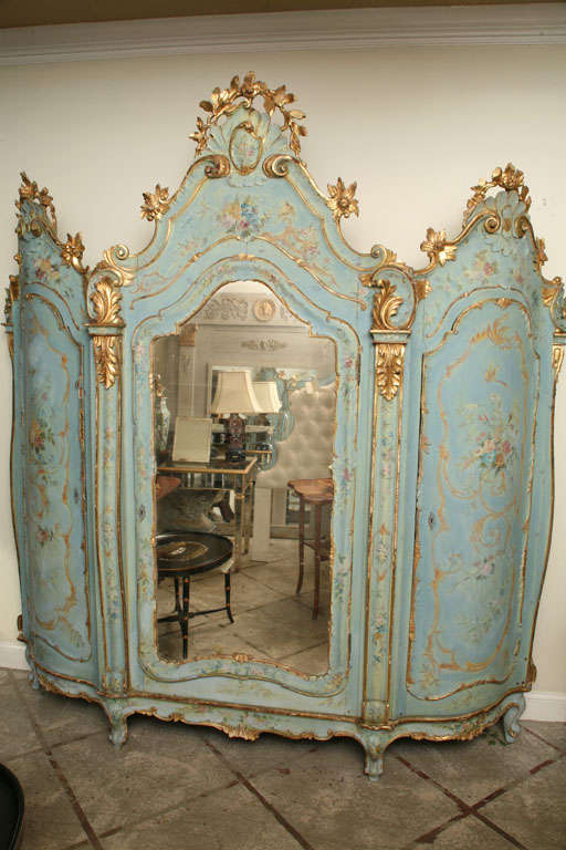 19th Century Venetian Painted Armoire 3