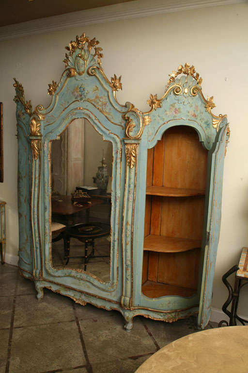 19th Century Venetian Painted Armoire 4