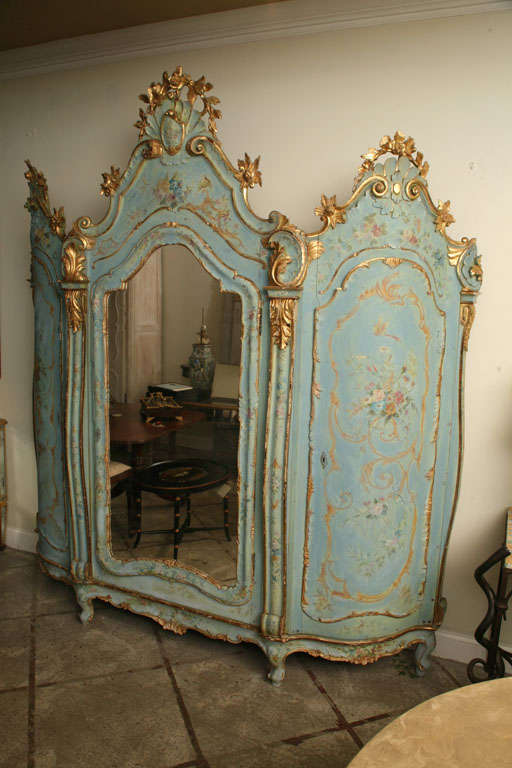 19th Century Venetian Painted Armoire 2