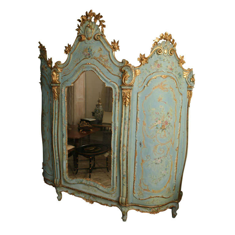 19th Century Venetian Painted Armoire 1