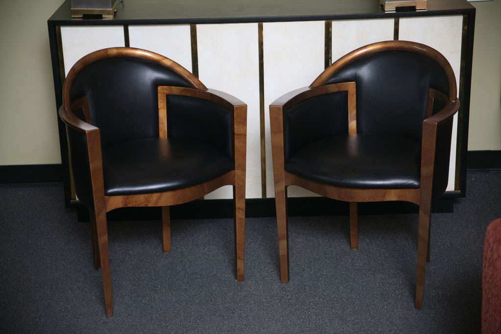 this six italian lacquer and leather art deco dining chairs is no