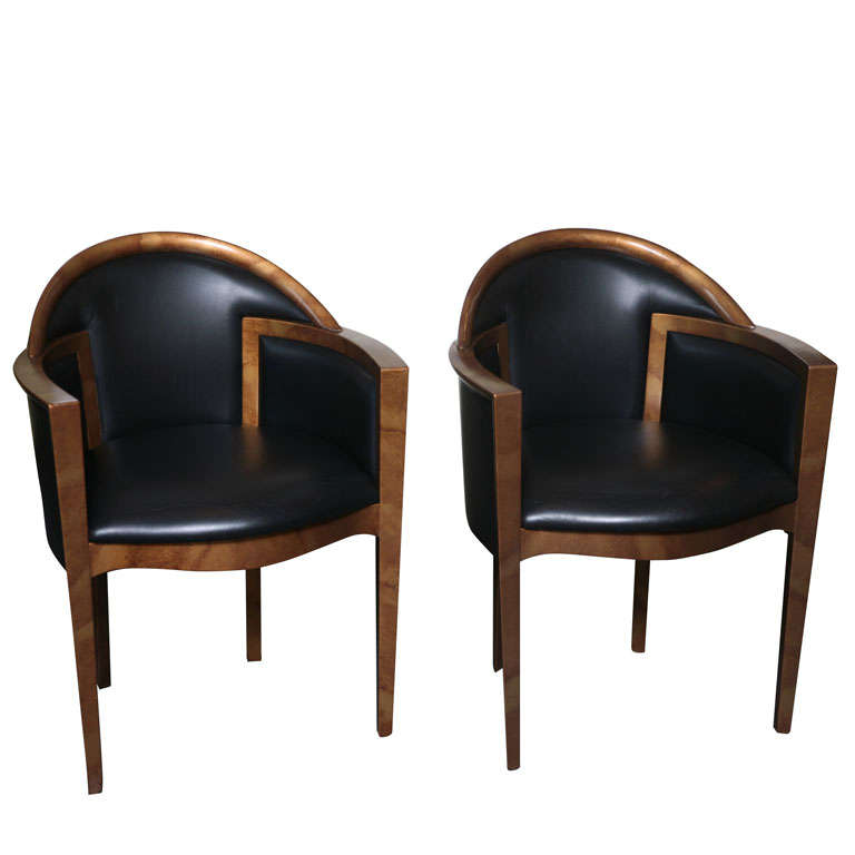 six italian lacquer and leather art deco dining chairs at