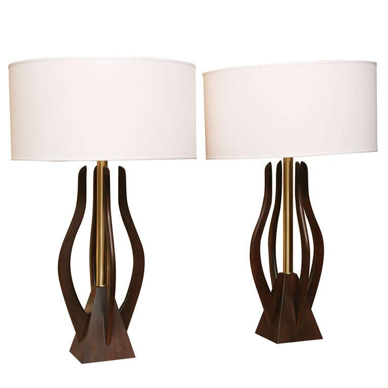 Monumental Organic Shaped Walnut and Brass Table Lamps