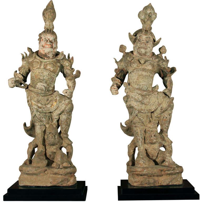 Pair of chinese tang dynasty lokapala guardian figures at 1stdibs