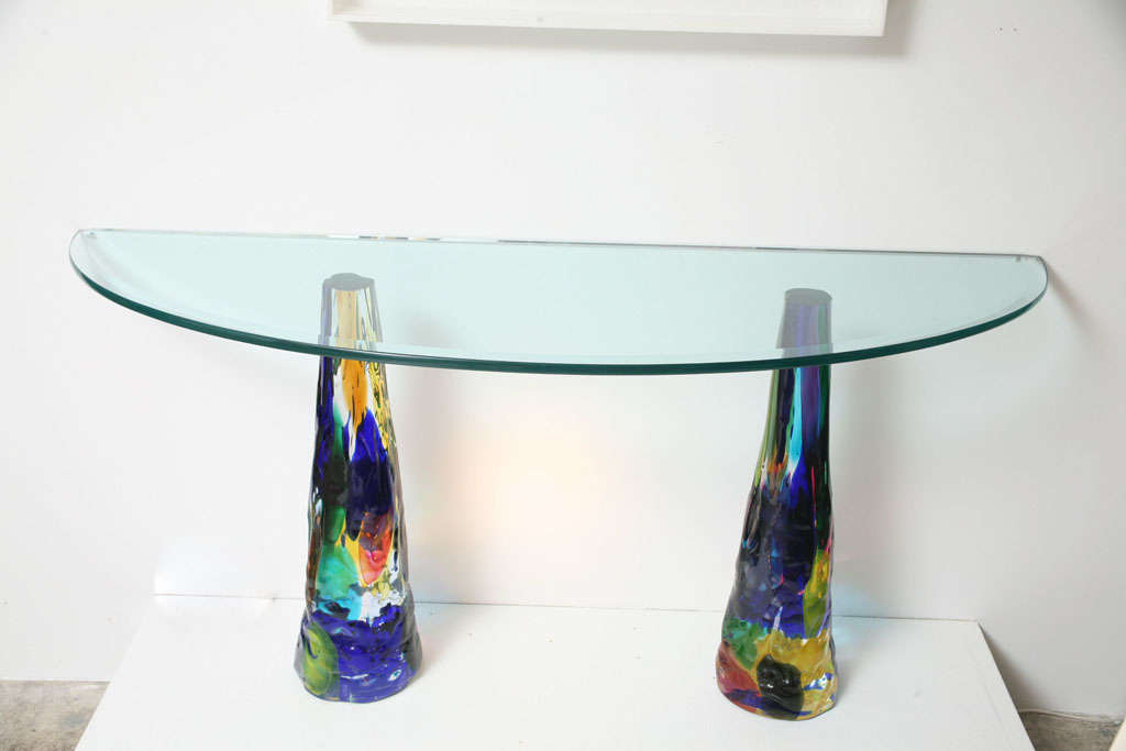 colorful glass console table zuo modern with shelf uk
