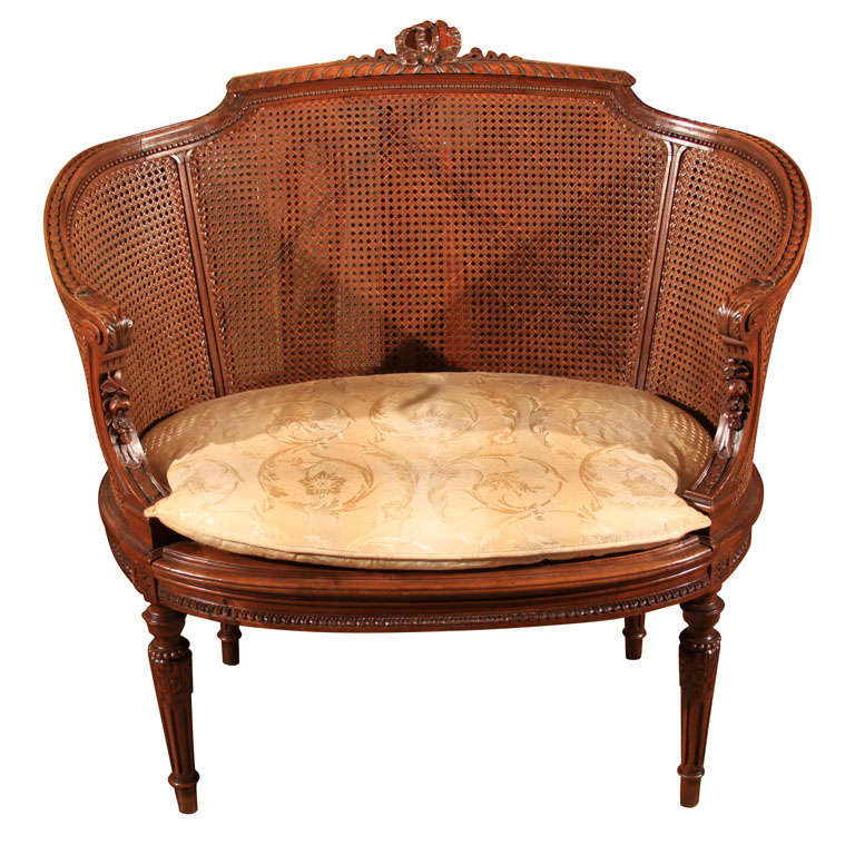 Settee With Cane Back And Cushion At 1stdibs