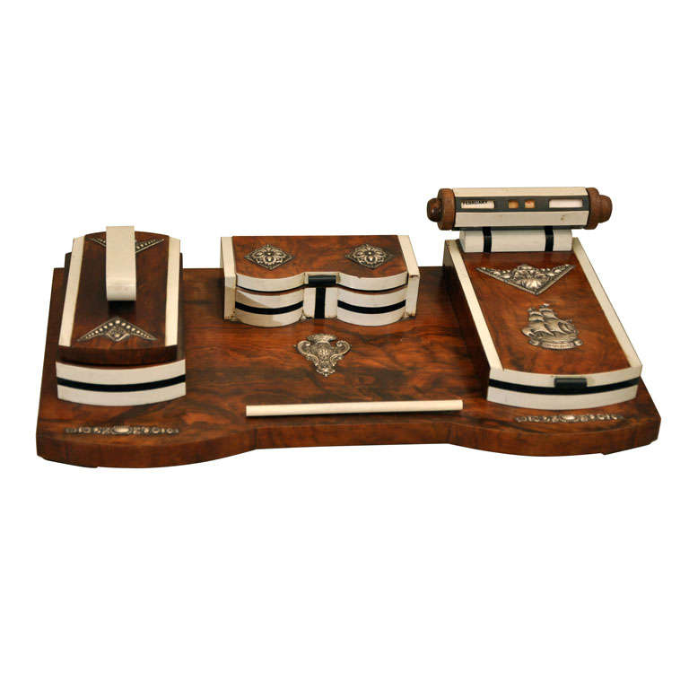 Art Deco Burled Wood Desk Set At 1stdibs