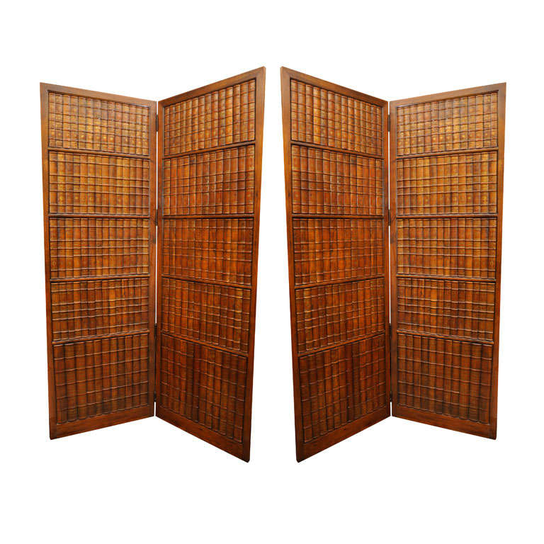 Pair of Mahogany Two Fold Floor Screens