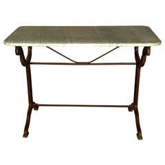Cast Iron Conservatory Table, Signed Toulouse