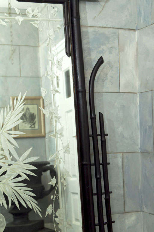 Full Length Ebonized Bamboo Etched and Silvered Mirror For Sale 1