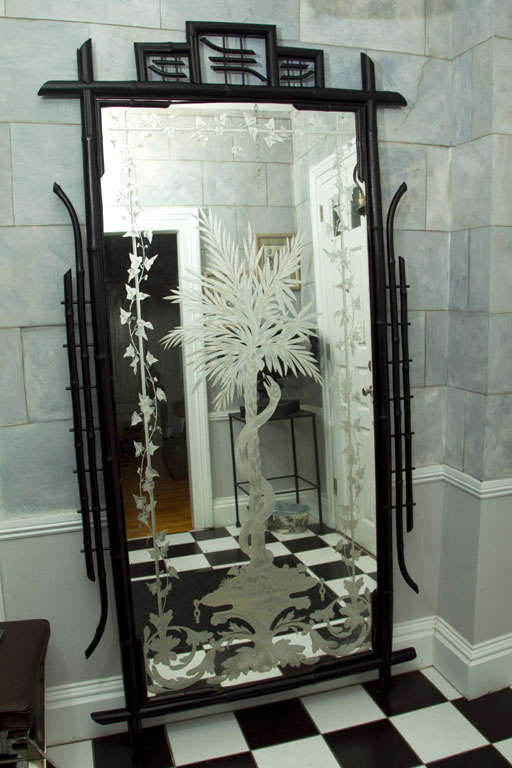 Full Length Ebonized Bamboo Etched and Silvered Mirror 2