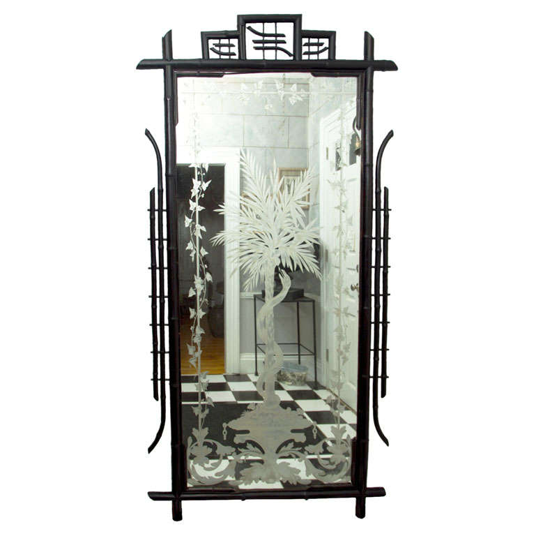 Full Length Ebonized Bamboo Etched and Silvered Mirror For Sale