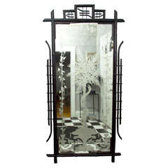 Full Length French Napoleon III Ebonized Bamboo Etched and Silvered Mirror