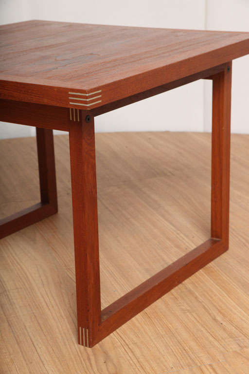 Danish Occasional Table with Inlaid Brass For Sale 3