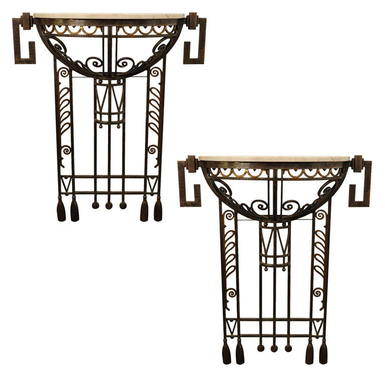 pair of art deco wrought iron console tables 1