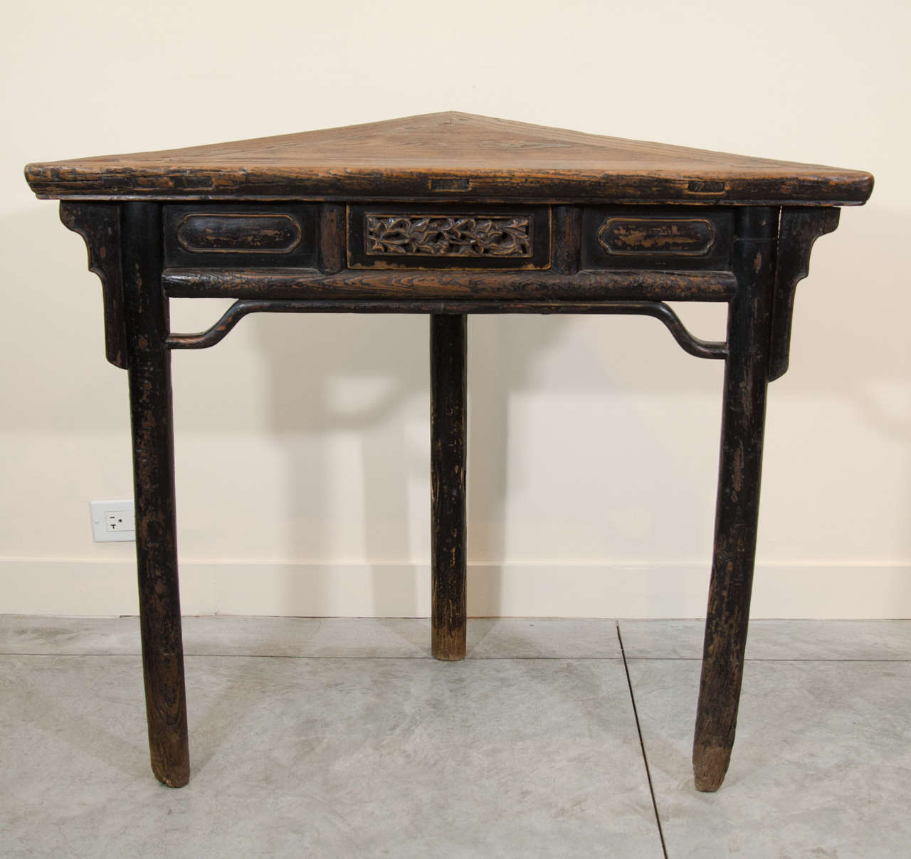 An Unusual Chinese Corner Table, Circa 1850, From Shanxi Province. With  Beautifully Carved