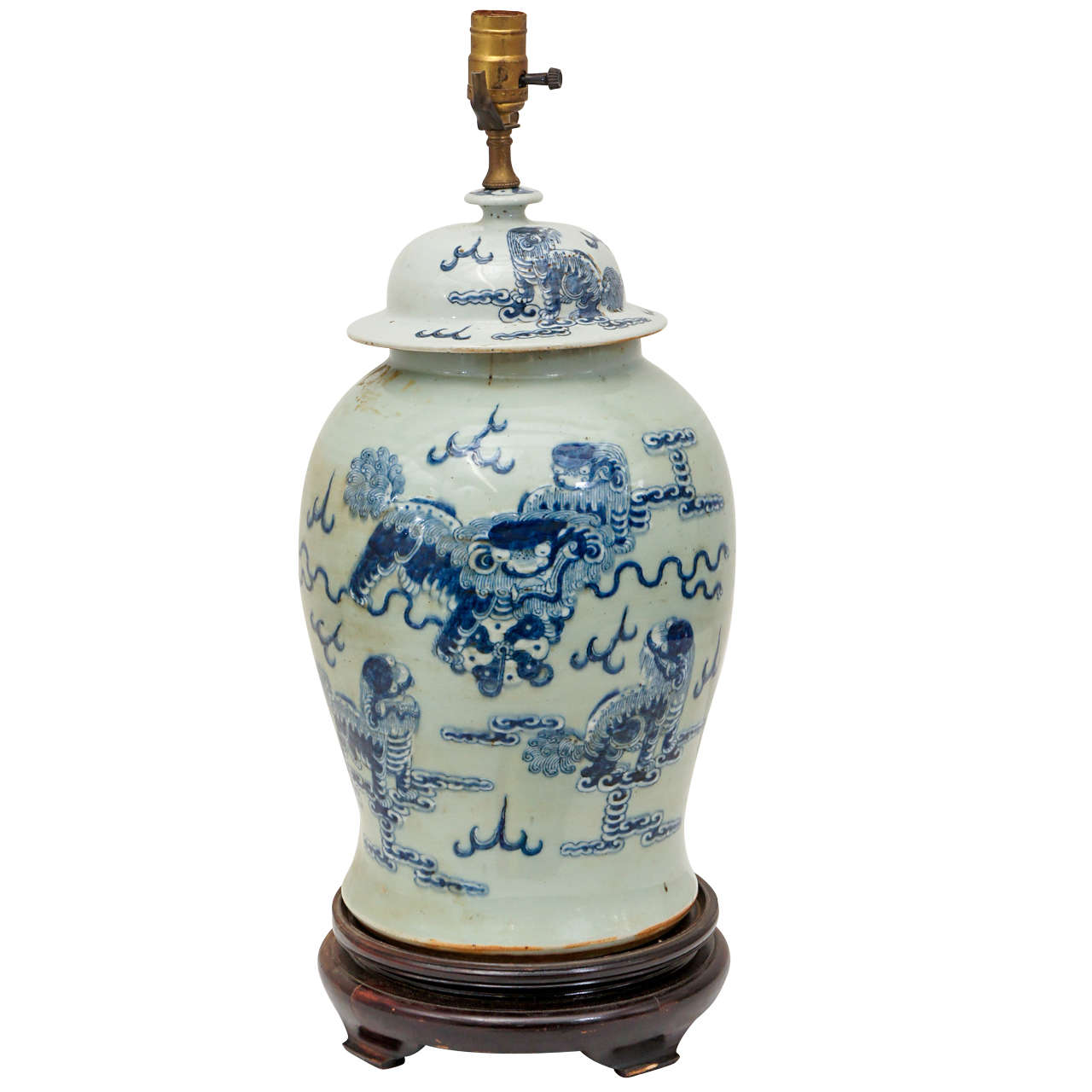 Large Chinese Ginger Jar Lamp At 1stdibs
