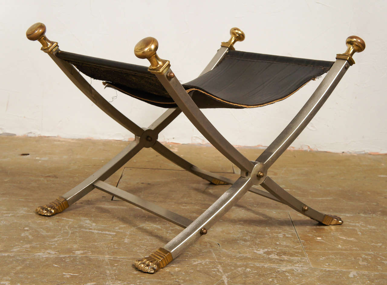 Maison Jansen Campaign Folding Chair And Ottoman At 1stdibs