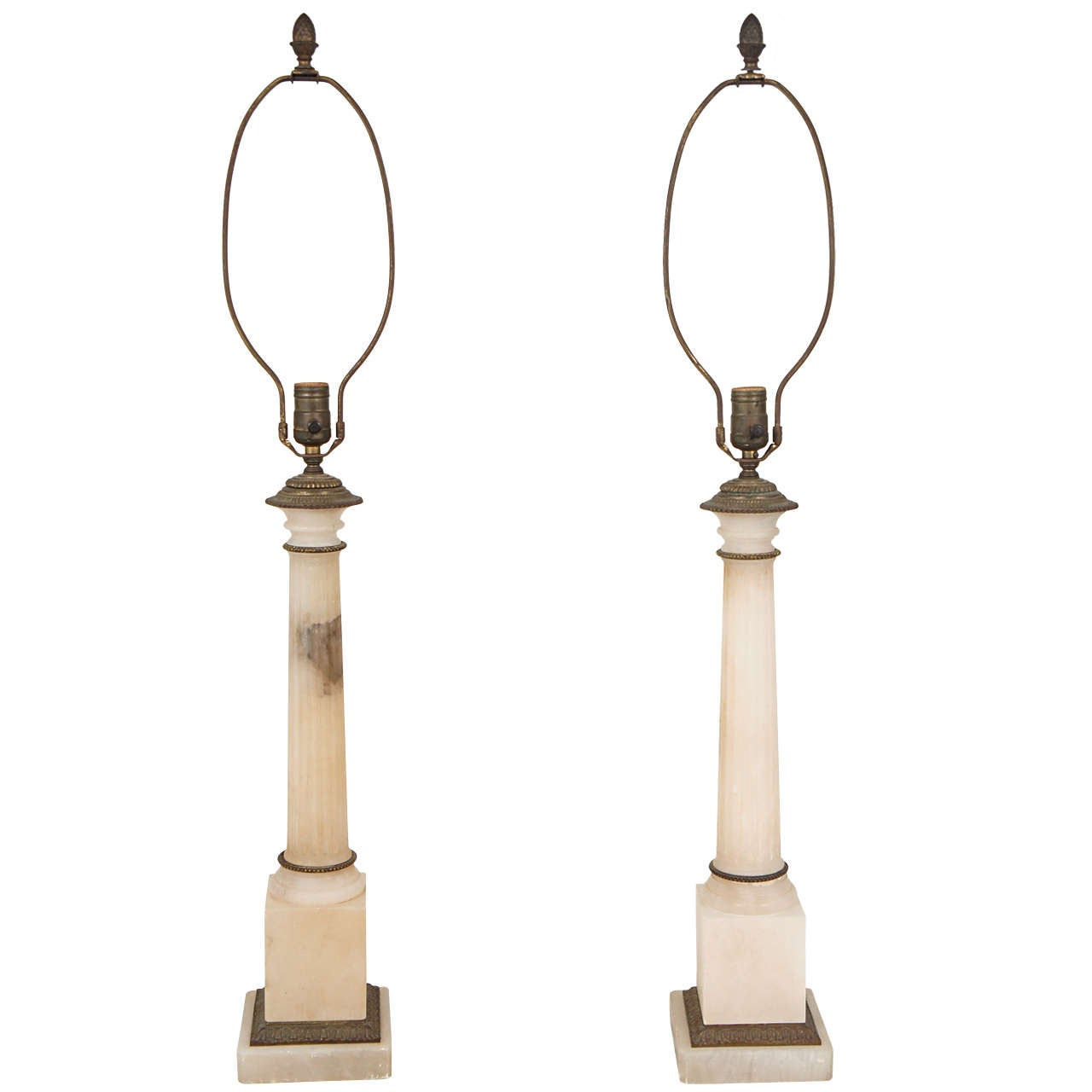 Neoclassical Marble Column Lamps