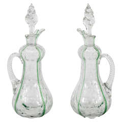 Stevens & Williams Pair of Crystal Decanters w/ Engraving & Applied Handles