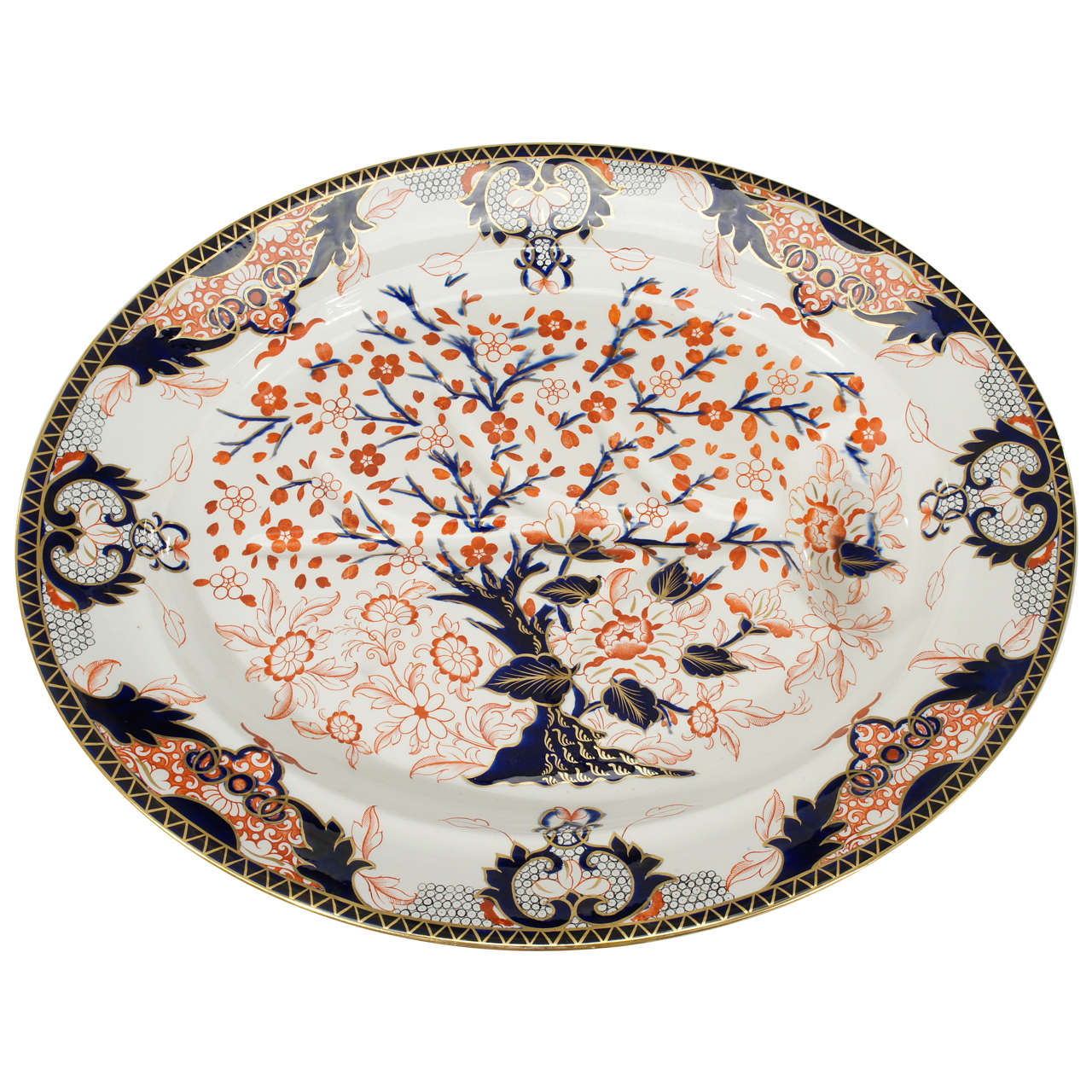 19th C. Derby Imari Decorated Massive Well And Tree Platter