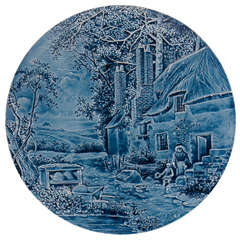 Signed Burmantoft's Country Cottage Faience Plaque