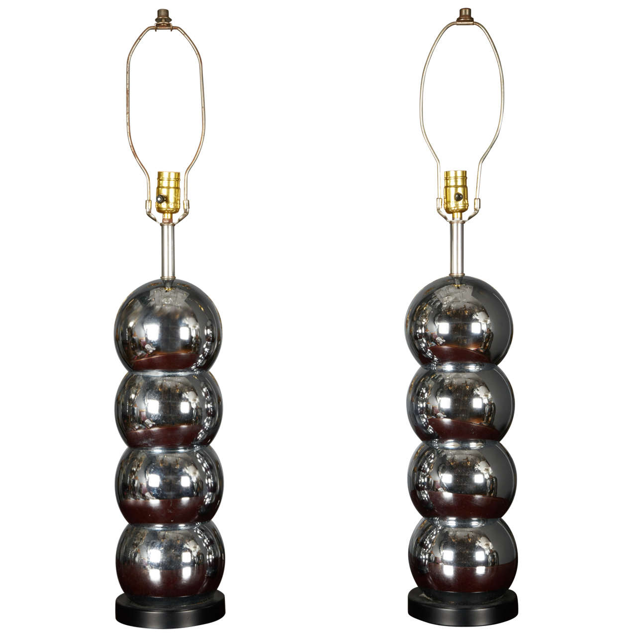 Pair of Stainless Steel Lamps
