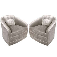 Pair of Mid-Century Modernist Swivel Chairs by Milo Baughman in Platinum Velvet