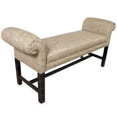 Mid-Century Modernist Upholstered Scroll Arm Bench in Ebonized Walnut by Baker