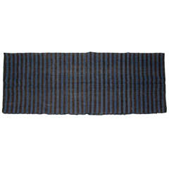 Early 19th Century Dutch striped Black & Blue Funeral Blanket