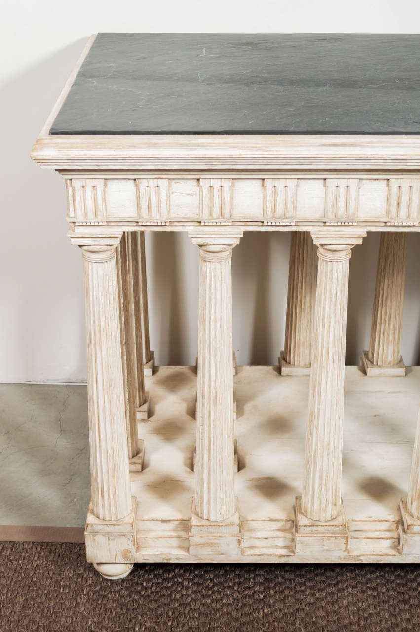 Hand-Painted and Antiqued Slate Top Architectural Center Table In Excellent Condition For Sale In San Francisco, CA