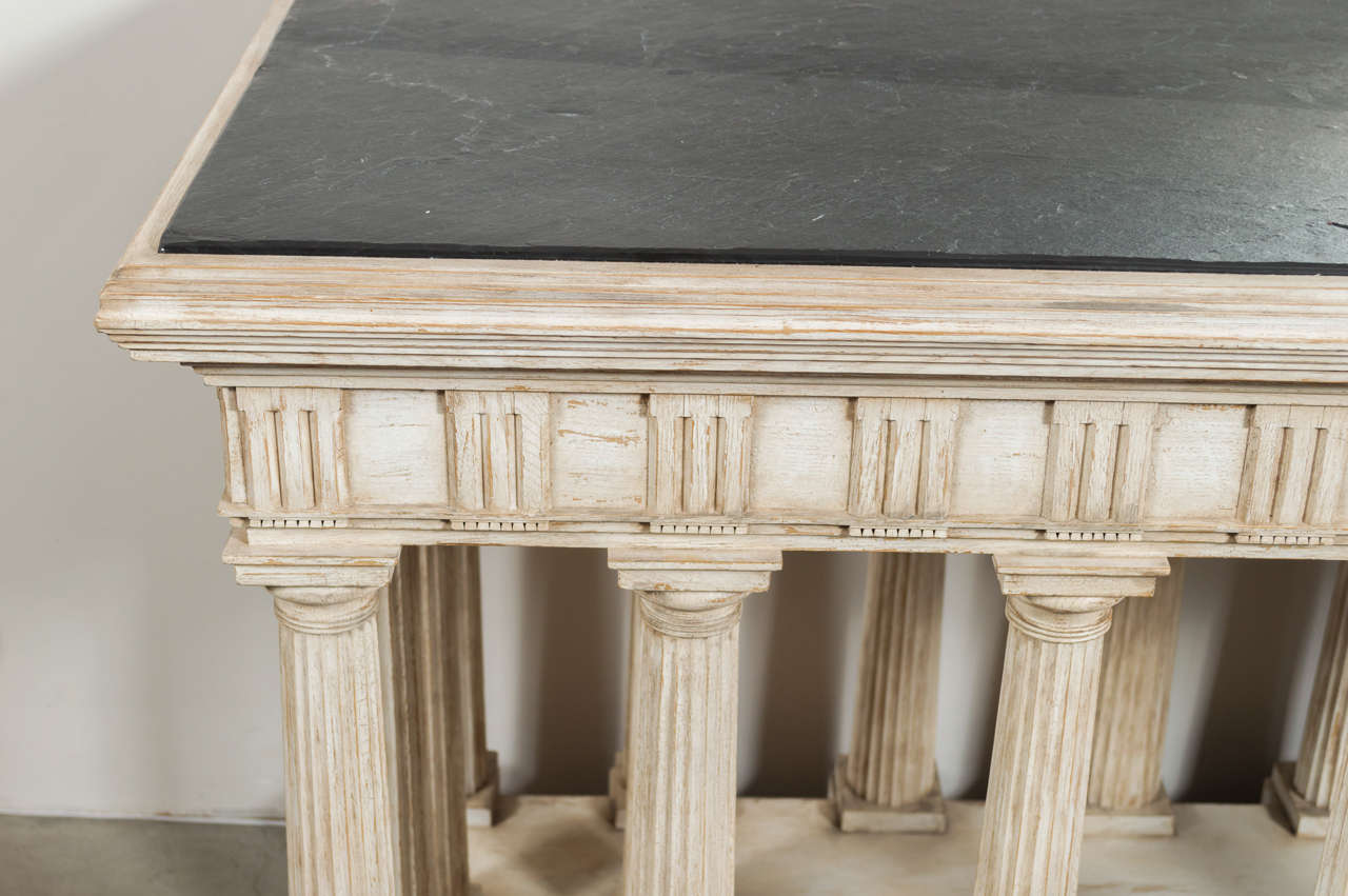 Hand-Painted and Antiqued Slate Top Architectural Center Table For Sale 3