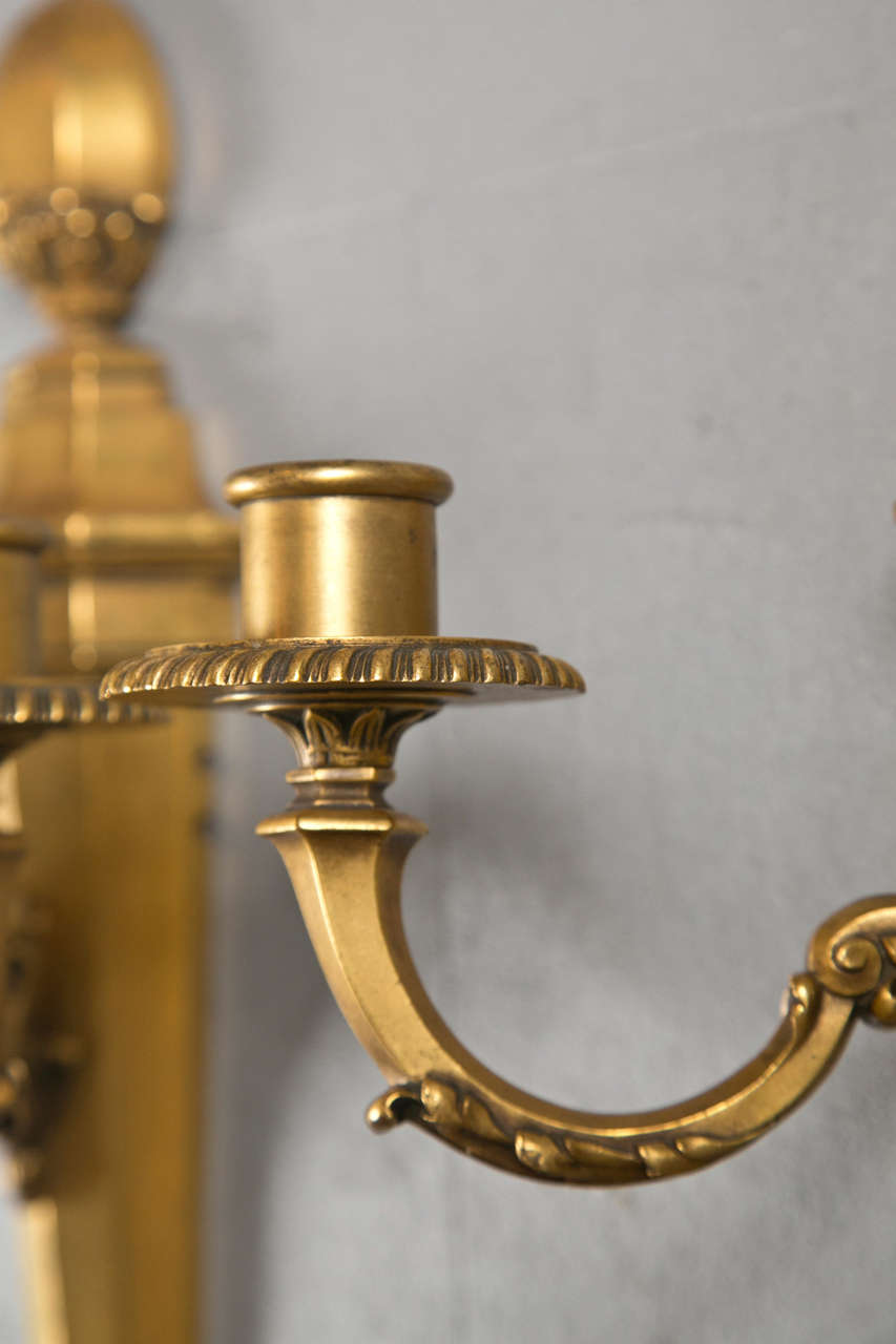 American Pair of Gilt Bronze Caldwell Sconces For Sale
