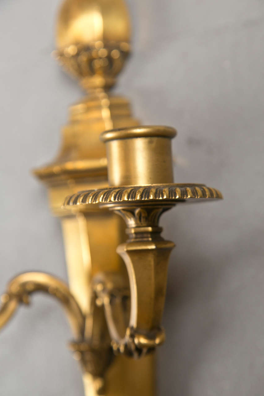 Pair of Gilt Bronze Caldwell Sconces In Excellent Condition For Sale In Stamford, CT