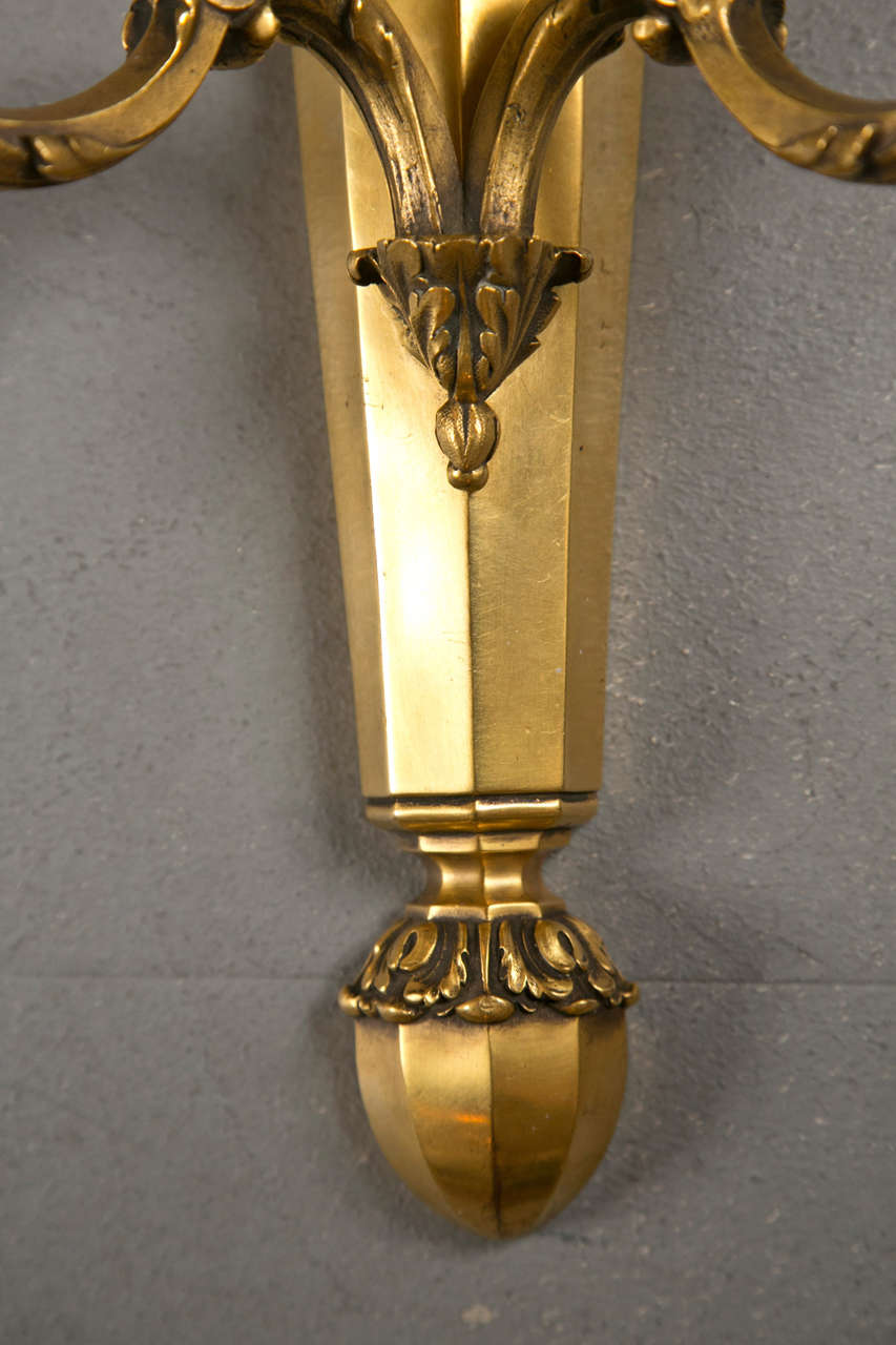 Ormolu Pair of Gilt Bronze Caldwell Sconces For Sale