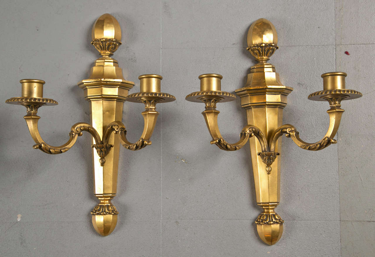 Pair of Gilt Bronze Caldwell Sconces For Sale 1