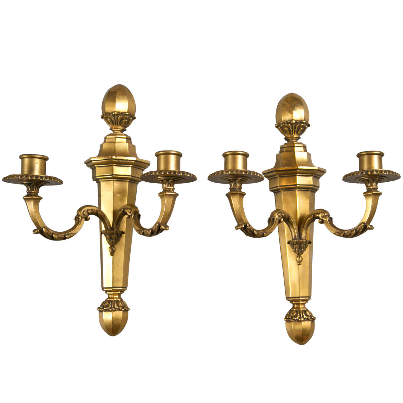 Pair of Gilt Bronze Caldwell Sconces For Sale