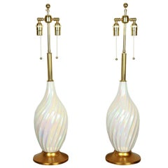 Pair of Beautiful Ceramic Lamps with a Stunning Mother-of-pearl Glaze