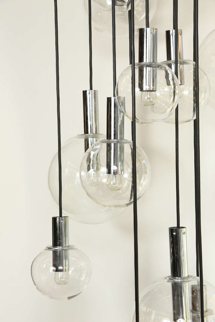 Giant Sixteen-Globe RAAK Chandelier In Good Condition In New York, NY