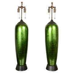 Pair of Enormous Bullet Shaped Glazed Ceramic Lamps