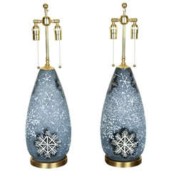 Pair of Lovely Ceramic Lamps with a Whimsical Snowflake Design