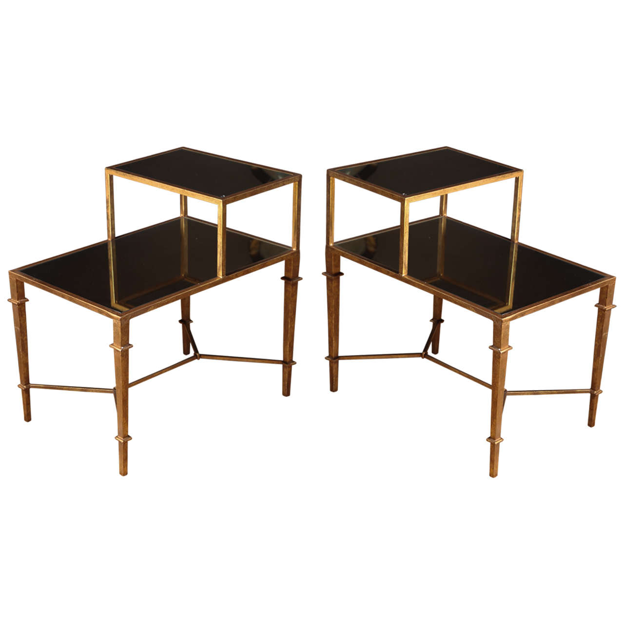 Pair of gilt bronze two tier mirrored bedside tables franc e