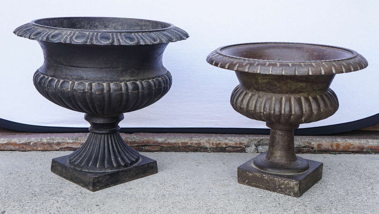 Beautiful cast iron planters for indoor or outdoor. Original patina.  Small: $550 Size: 18 inches diameter x 16 inches height  Large: $650 Size: 20 inches diameter x 18 inches height.