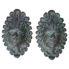 Early 20th Century Pair of Ornate Iron Masks