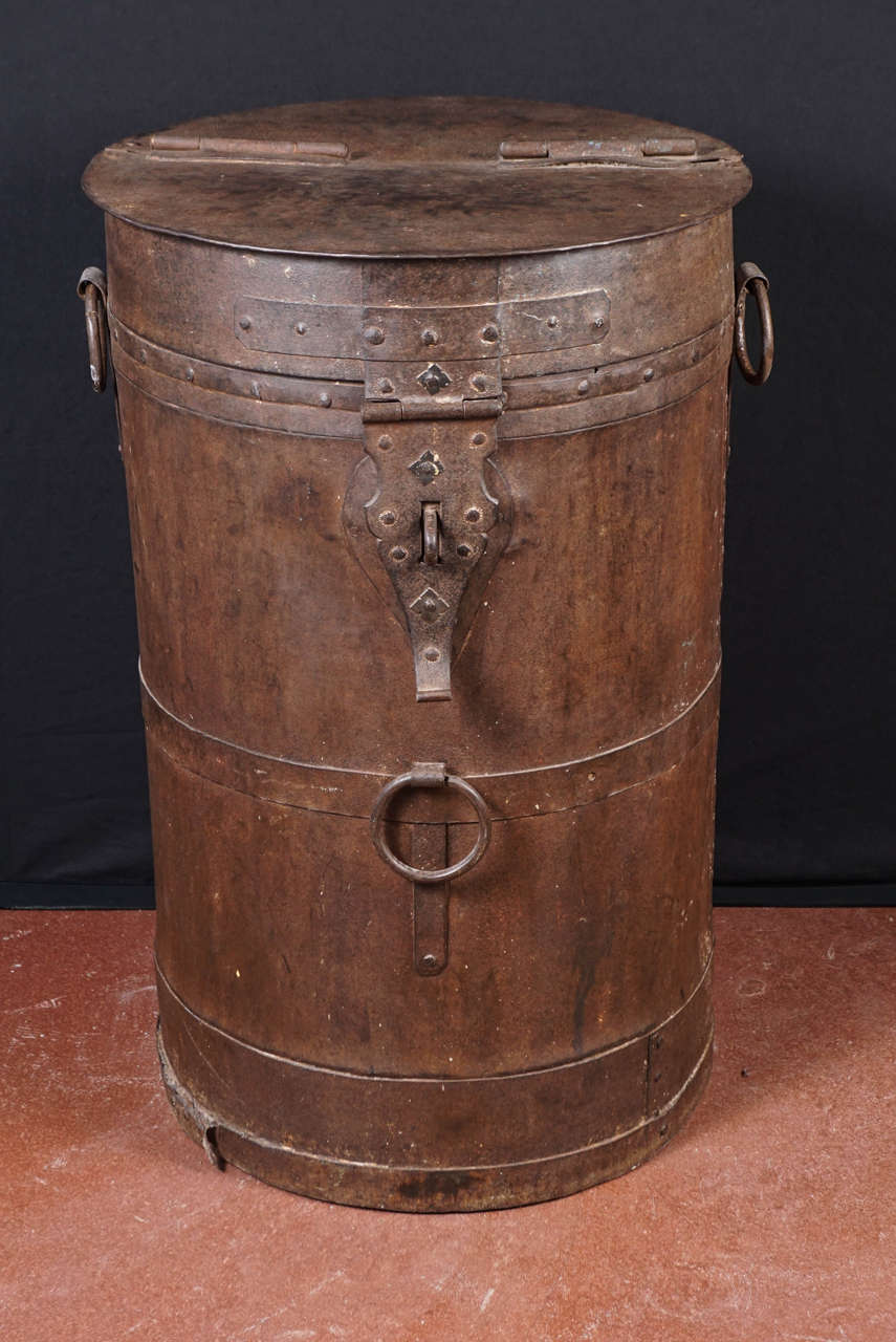 Indian Midcentury Iron Industrial Storage Container For Sale