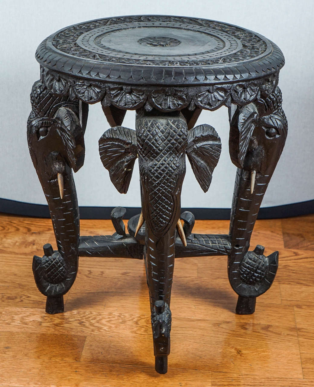Indian Carved Hardwood Elephant Stool At 1stdibs