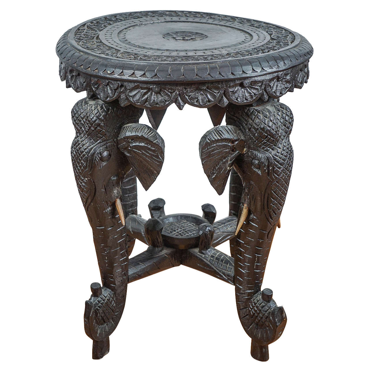 indian carved hardwood elephant stool at stdibs - indian carved hardwood elephant stool