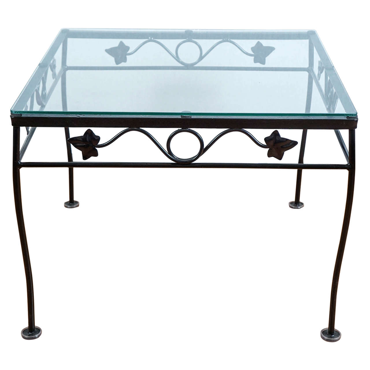 Black Wrought Iron Side Table For Sale