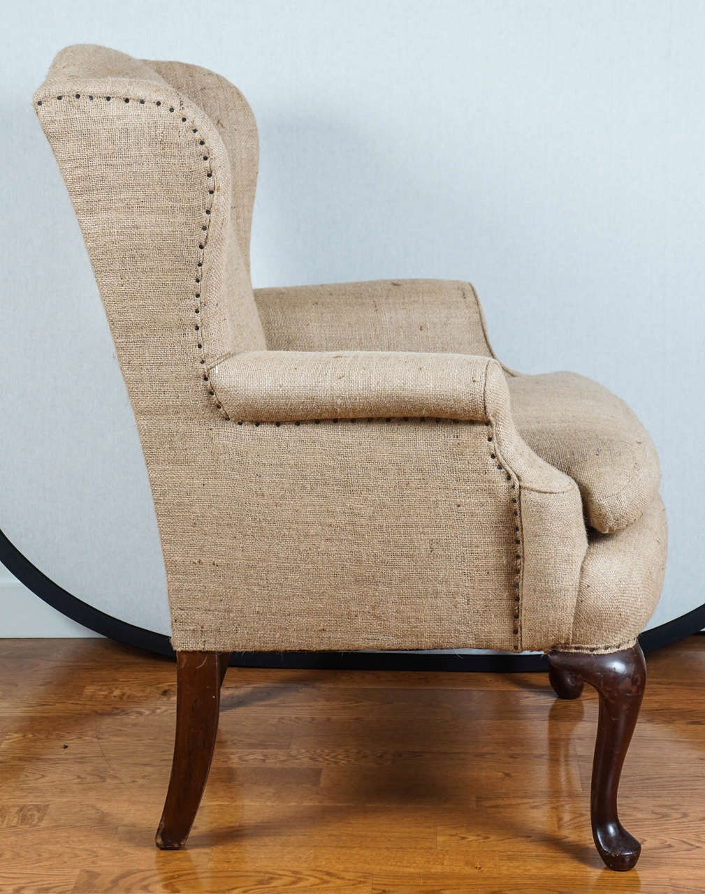 Charmant American Burlap Wingback Chair For Sale