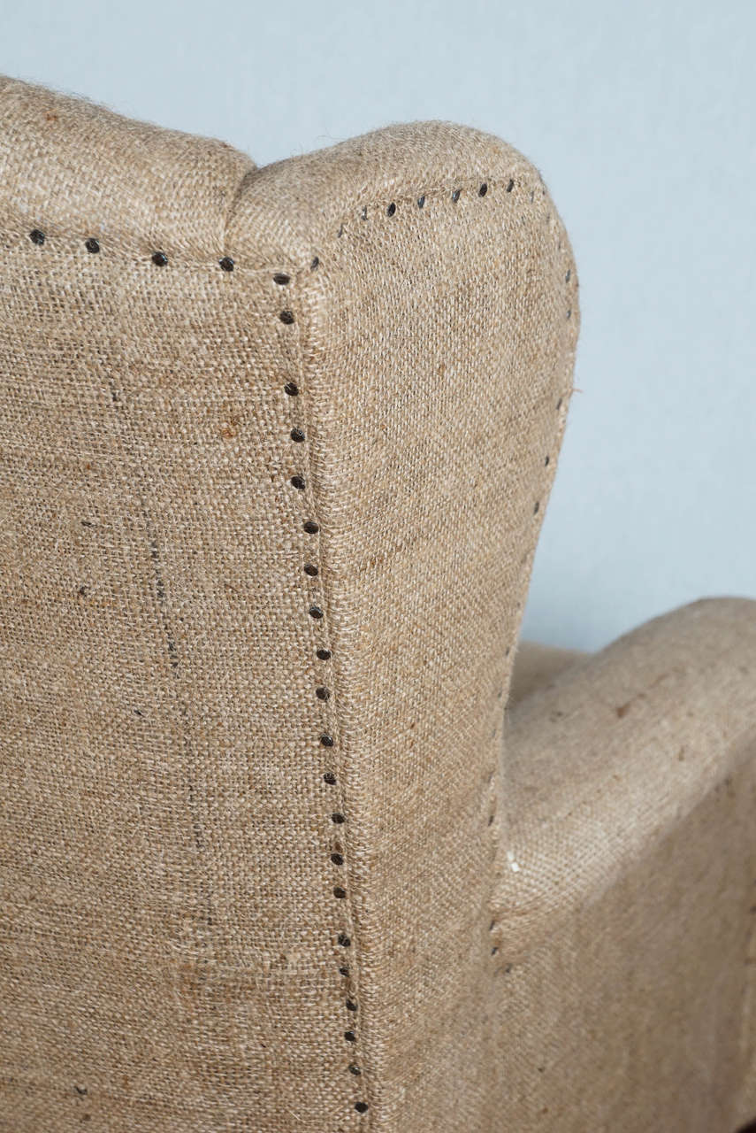 Delicieux Mid 20th Century Burlap Wingback Chair For Sale